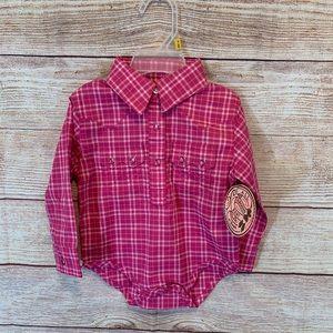 Wrangler baby girl button down onesie size 3-6 m